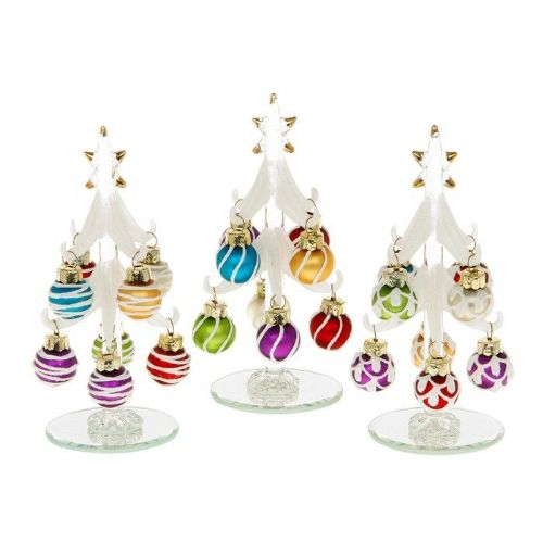 Small Frosted Glass Christmas Trees with Multi Coloured Baubles
